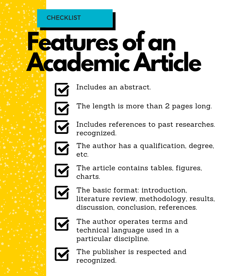 The Features of an Academic Article Checklist